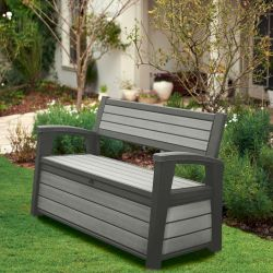 Norfolk Leisure Hudson Resin Storage Bench Duotech TM In Grey