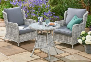 Norfolk Leisure Handpicked Rattan Wroxham 2 Seat Bistro Set In Grey