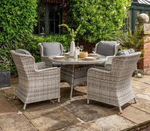 Norfolk Leisure Handpicked Rattan Wroxham 4 Seat Dining Set In Grey