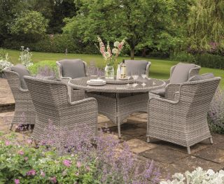 Norfolk Leisure Handpicked Rattan Wroxham 6 Seat Dining Set In Grey