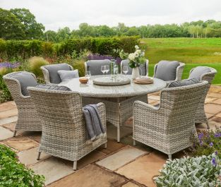 Norfolk Leisure Handpicked Rattan Wroxham 8 Seat Oval Dining In Grey