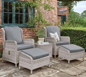 Norfolk Leisure Handpicked Rattan Wroxham 2 Seat Relax Set In Grey