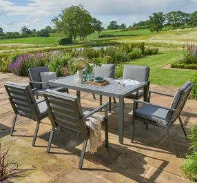 Norfolk Leisure Handpicked Aluminium Titchwell 6 Seat Dining Set In Grey