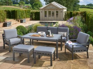 Norfolk Leisure Handpicked Aluminium Titchwell 5 Seat Lounge Set In Grey