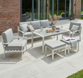 Norfolk Leisure Handpicked Aluminium Titchwell 5 Seat Lounge Set In White
