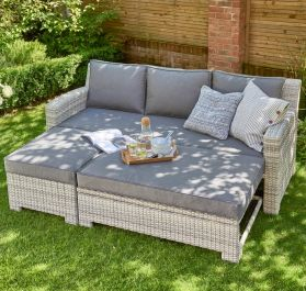 Norfolk Leisure Handpicked Aluminium Oxborough 3 Seat Pull Out Lounge Sofa In Grey
