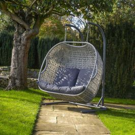 Norfolk Leisure Handpicked Rattan Goldcoast 2 Seat Double Swing In Grey