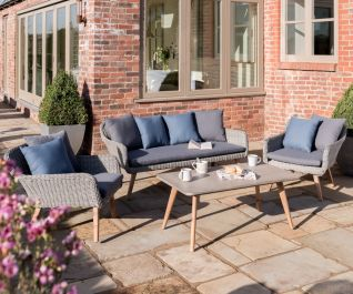 Norfolk Leisure Handpicked Rattan Midori 5 Seat Lounge Set In Grey