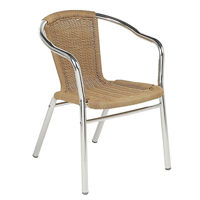 Aluminium Stacking Outdoor Dining Chair in Honey Rattan