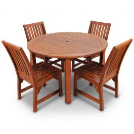 120cm Devon Hardwood 4 Seater Round Table Garden Dining Set