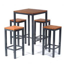 Dorset Square Bar Table and 4 Stool Outdoor Dining Set