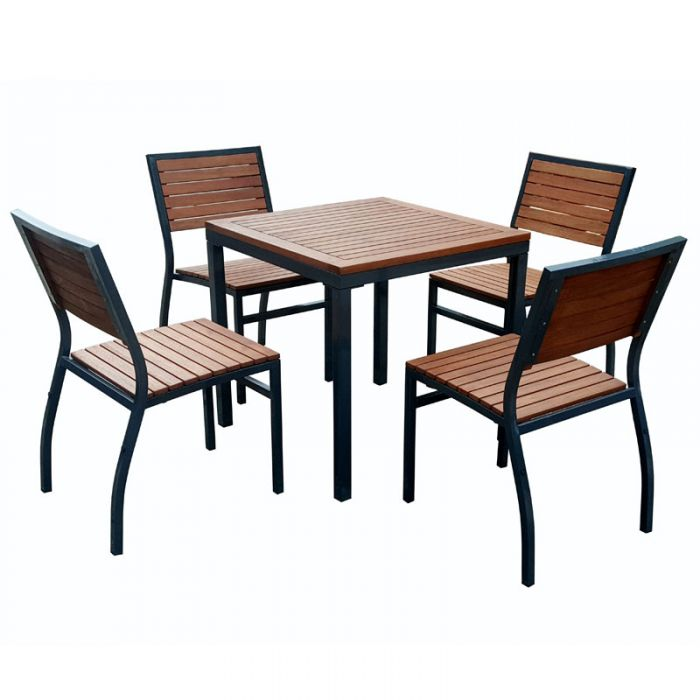 Dorset Square Outdoor Table and 4 Stacking Side Chairs