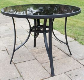 Hadleigh 1.1m Round Glass Topped Table In Black By Hectare™