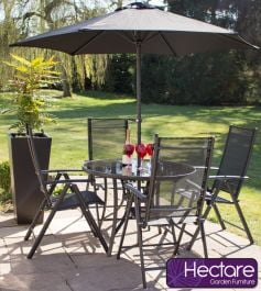 Kennet Reclining 4 Seater Polytex Dining Set In Black By Hectare™
