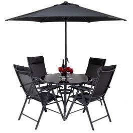 Kennet Reclining 4 Seater Polytex Dining Set In Black By Hectare®