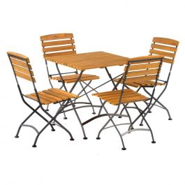 Newark Folding 75cm Square Bistro Side Chair Outdoor Dining Set