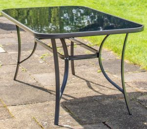 Kennet Rectangular Glass Topped Dining Table (No Parasol) In Mocha By Hectare™