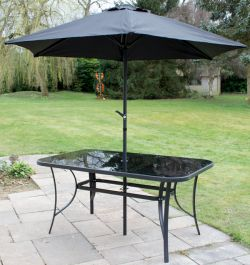Kennet Rectangular Glass Topped Dining Table (No Parasol) In Black By Hectare™