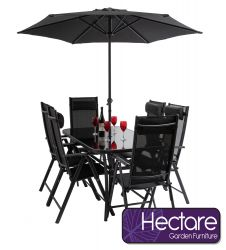 Kennet Reclining 6 Seater Polytex Dining Set In Black By Hectare™