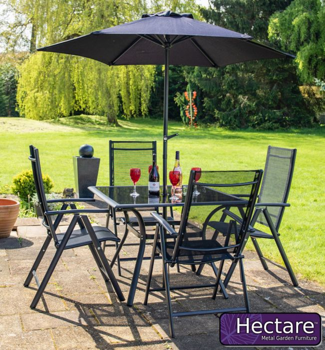 Kennet 4 Seater Square Super Polytex Dining Set In Black By Hectare™