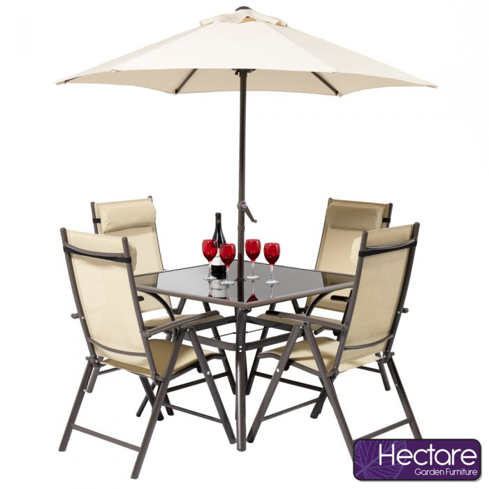 Kennet 4 Seater Square Super Polytex Dining Set In Mocha By Hectare™