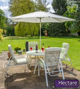 Hadleigh 4 Seater Reclining Steel Garden Dining Furniture Set In White By Hectare™