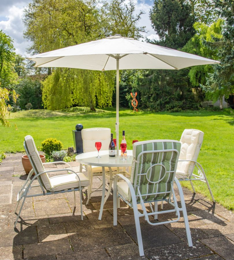 Hadleigh 4 Seater Reclining Steel Garden Dining Furniture Set - by Hectare™