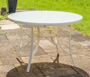 Hadleigh 1.1m Round Glass Topped Table In White By Hectare™