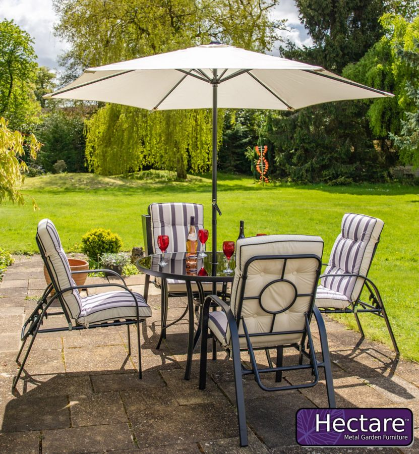 Hadleigh 4 Seater Reclining Steel Garden Dining Furniture Set In Black By Hectare®