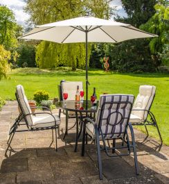 4b1b2d37a170 Hadleigh 4 Seater Reclining Steel Garden Dining Furniture Set In Black By  Hectare™ [FU10194]