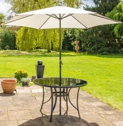 Hadleigh 3m Steel Crank Parasol In Ivory By Hectare®