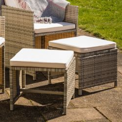 Sherborne Set Of 4 Rattan Stools In Mixed Grey By Asha™