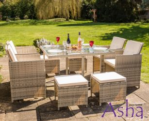 Sherborne Rattan 4 Seater Cube Conservatory and Garden Furniture Set with Stools in Beige/Grey - by Asha™