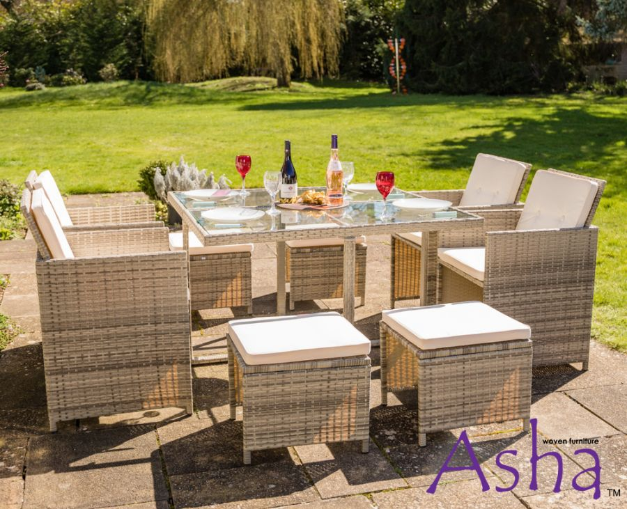 Sherborne Rattan 4 Seater Cube Conservatory And Garden Furniture Set With Stools In Beige/Grey By Asha™