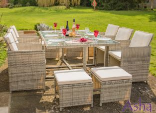 Sherborne Rattan 6 Seater Cube Garden Furniture Set in Beige/Grey - by Asha™