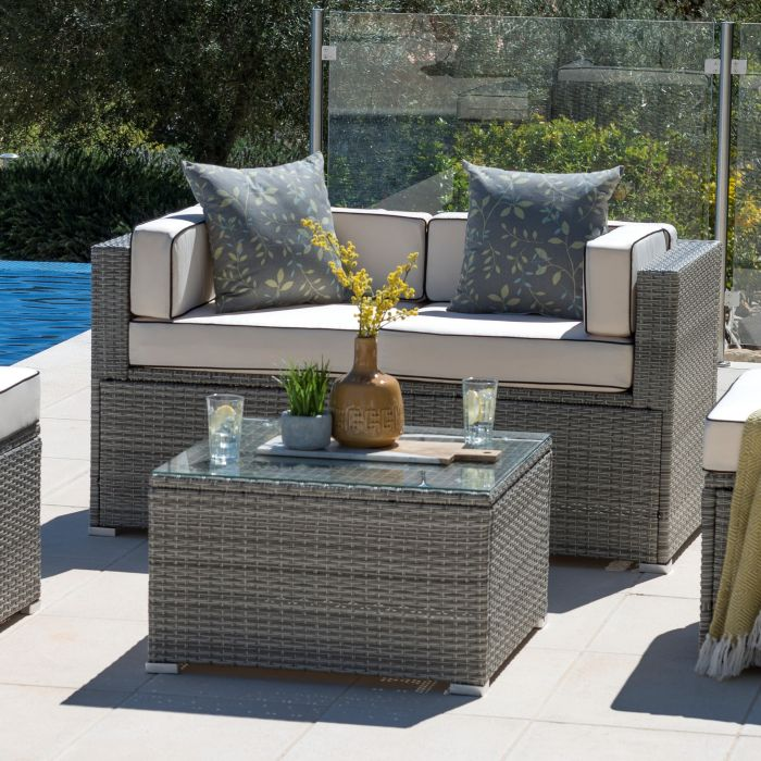 Sherborne 2 Seater Rattan Sofa - Mixed Grey- by Asha™