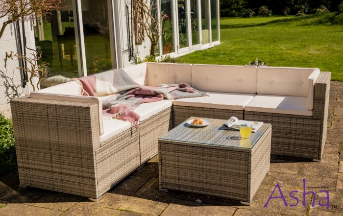 Sherborne Rattan Conservatory and Garden Corner Sofa Set in Beige/Grey - by Asha™