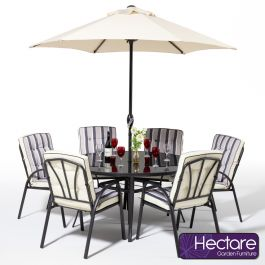 Hadleigh 6 Seater Round Garden Dining Furniture Set In Black By Hectare™