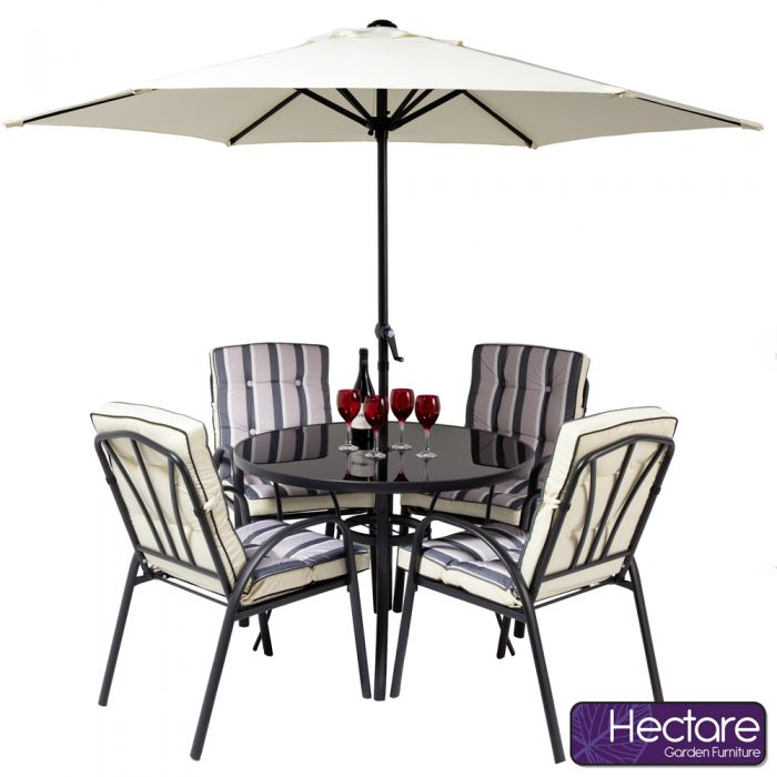 Hadleigh 4 Seater Round Garden Dining Furniture Set In Black By Hectare™