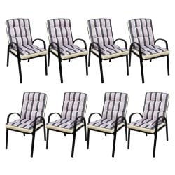 Hadleigh Set Of 8 Armchairs With Cushions In Black By Hectare®