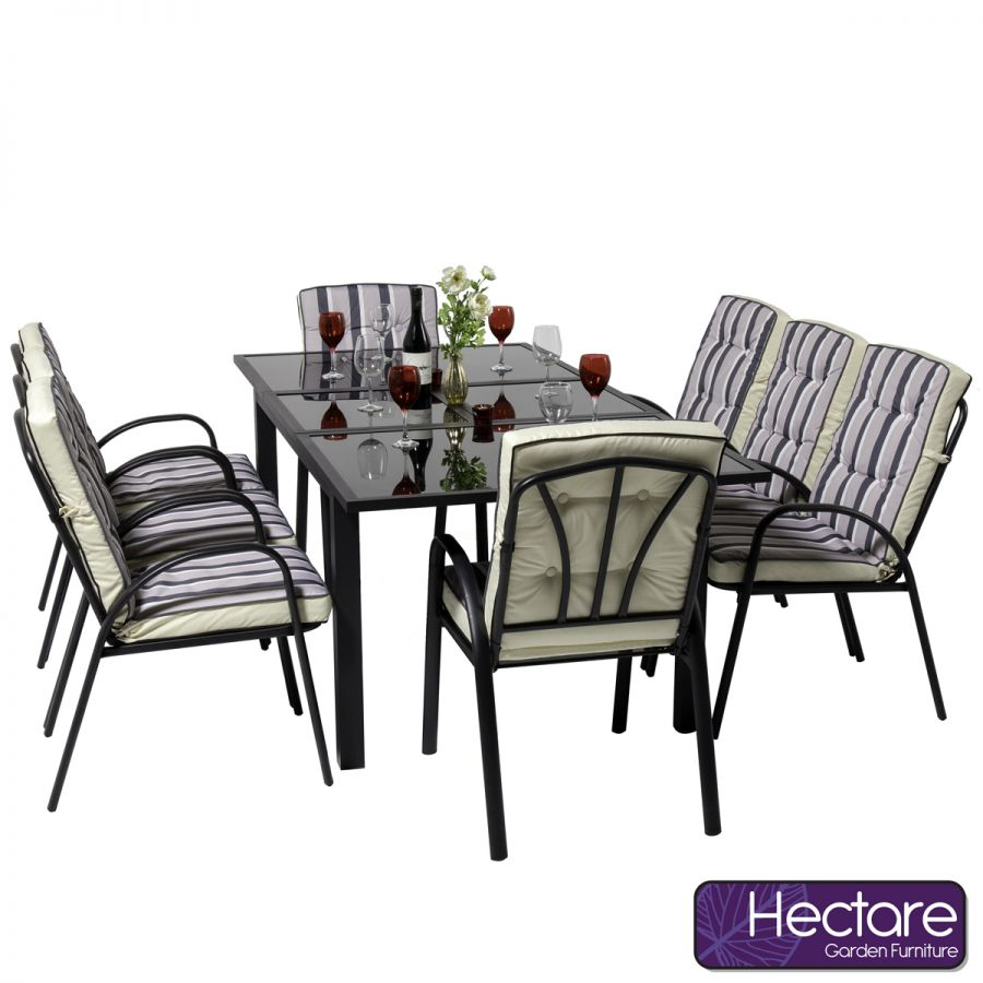 Hadleigh 8 Seater Rectangular Extendable Garden Dining Furniture Set In Black By Hectare®