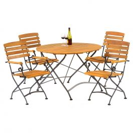 Newark Folding Round Outdoor Dining Set with Arm Chairs