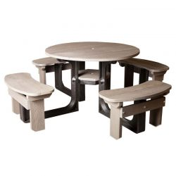 8 Seater Grey Recycled Plastic Round Picnic Table