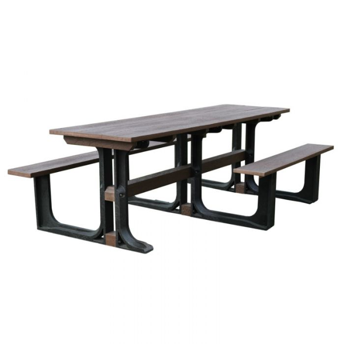 Wheelchair Friendly 238cm  Rectangular Wooden Picnic Table in Grey