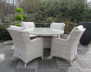 Seychelles 4 Seater Round Comfort Rattan Dining Set