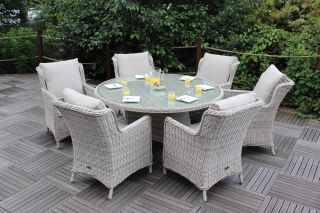 Seychelles 6 Seater Round Rattan Dining Set