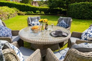 Wentworth 6 Seater Round Highback Rattan Dining Set