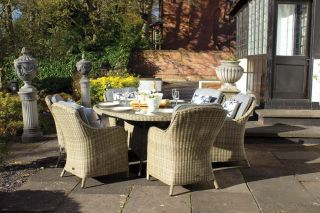 Wentworth 6 Seater Oval Highback Rattan Comfort Dining Set