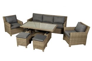Wentworth Rattan Dining Sofa Set With Adjustable Table