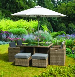125cm Wentworth 8 Seater Rattan Cube Dining Set